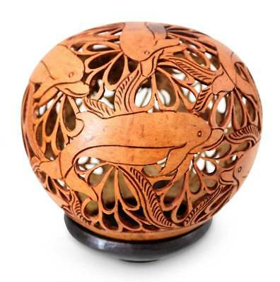 Coconut Shell Sculpture with Stand Hand Carved 'Smiling Dolphins' NOVICA Bali