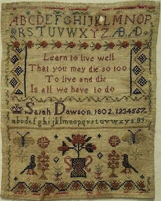 Very Small Early 19Th Century Motif & Verse Sampler By Sarah Dawson - 1802