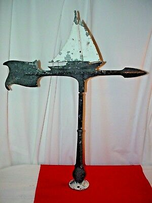 Weathervane - Sail Boat Cast Aluminum - w/ Mounting Stand - Vintage - Sailboat
