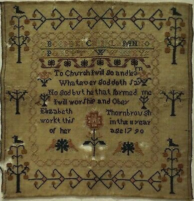 Late 19Th Century Verse & Motif Sampler By Elizabeth Thornbrough Aged 11 - 1790