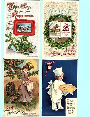 my1 lot of 24 antique postcards Thanksgiving Christmas Angels Religious birthday