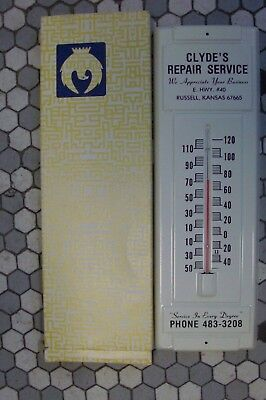 Large Vintage Metal Advertising Thermometer - Russell, Kansas - Clyde's Repair S