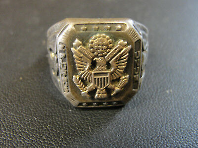 WWII Sterling Silver US Military Ring Eagle w/ Shield UNUM Size 9