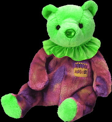 TY Beanie Baby Babies AUGUST The BIRTHDAY Teddy Bear POOH Style MWMT Retired NEW