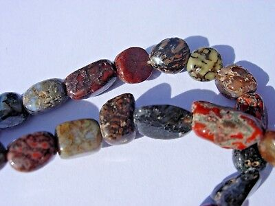 19 grams of tumbled real Dinosaur Fossil Bone Beads - 16 inches long strand
