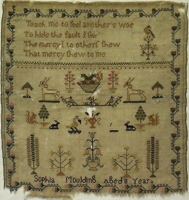 EARLY 19TH CENTURY MOTIF & VERSE SAMPLER BY SOPHIA MOULDING AGED 8 - c.1835