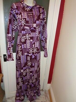 """True Vintage 60s/70s Maxi Dress size 50"""" bust (approx size 20"""