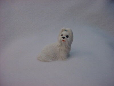 SHIH TZU white puppy TiNY DOG Figurine HAND PAINTED MINIATURE Mini small Statue