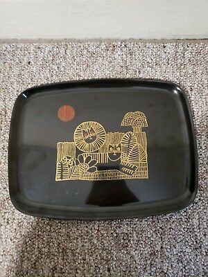 Couroc Of Monterey Serving Tray Inlaid Wood Egyptian Lion  Hieroglyphs Cat