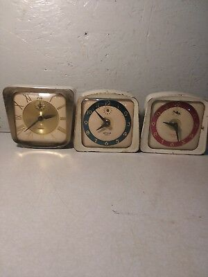 Lot Of 3 VINTAGE LUX Wind up Alarm Clock for Parts