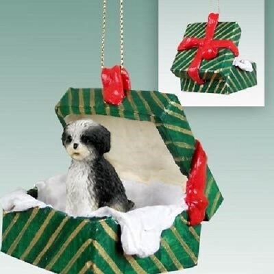 SHIH TZU PUPPY Christmas GREEN GIFT BOX B&W Dog Ornament HAND PAINTED FIGURINE