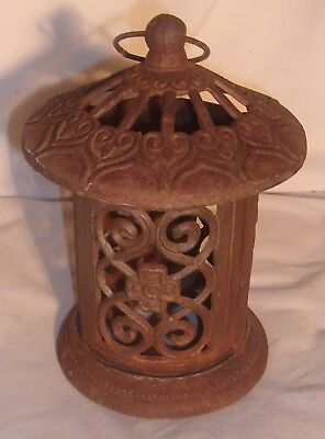 Very Old Cast Iron Garden Lantern 8 Inches Tall Looks Good Maybe Japanese Asian