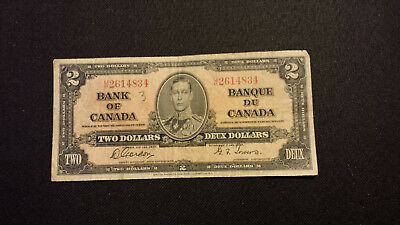 1937 Bank of Canada $2 Canadian Money   Worn but Nice # U/B2614834 Gordon/Towers