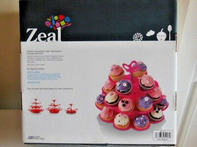 Bnib Zeal Every Occasion Multi Size 4 Tier Cake Stand/plate Fuchsia Pink