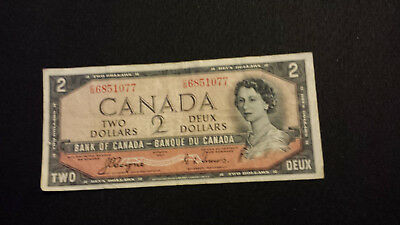 1954 Bank of Canada $2 Canadian Money - Devil's Face # C/B 6851077 Coyne/Towers