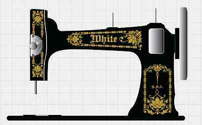 White VS3 Vibrating Shuttle Sewing Machine Restoration Decals  Gold Metallic