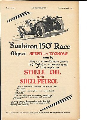 Surbiton 150 Race  Astro Daimler Shell 1928 Superb Vintage Original Advert