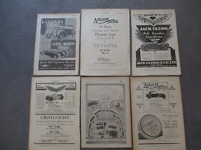 ASTON MARTIN**1920s/30s/40s VINTAGE ORIGINAL ADVERTS FULL+HALF PAGE