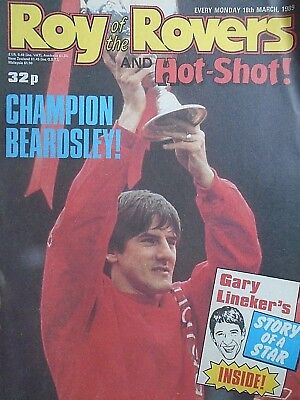Roy of the Rovers 18/03/89 old football all usual storys + gary lineker poster,