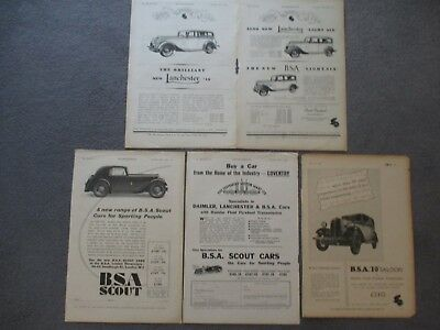 BSA**DAIMLER**LANCHESTER**1930s VINTAGE ORIGINAL ADVERTS FULL PAGE