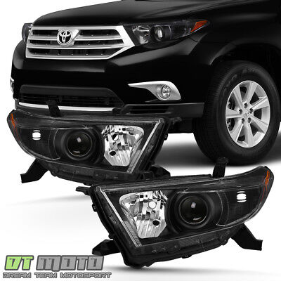 For 2011 2012 2013 Toyota Highlander Headlights Black Headlamps 11-13 Left+Right