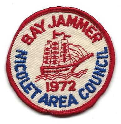 1972 BAY JAMMER patch - NICOLET AREA COUNCIL - used - Sea Boy Scout BSA 12/8