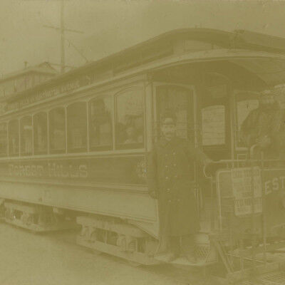 Antique 1890's Large Photo,Forest Hills via Huntington Ave Trolley in Boston,MA