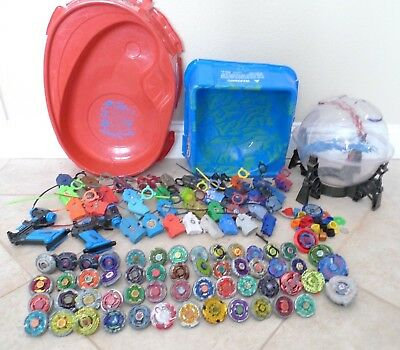 HUGE BEYBLADE Lot of 55 Metal Spinners + Ripcords Launchers & 3 Stadiums !!!