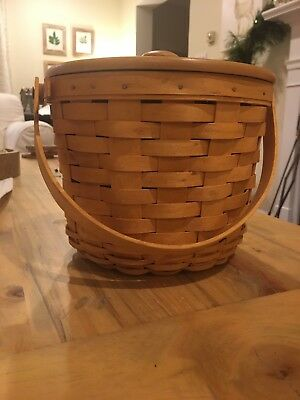 Longaberger Round Basket Combo with Wooden Lid and Fabric Liner