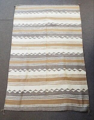 """Antique LARGE 49"""" x 76"""" MEXICAN WOVEN TAPESTRY RUG Stripes & Diamonds"""