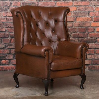 Early 20th Century Danish Brown Leather Wing Back Chair