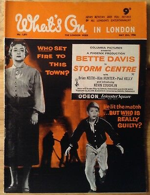 """Vintage magazine, """" What's on in London """" 1956. Bette Davies in Storm centre."""