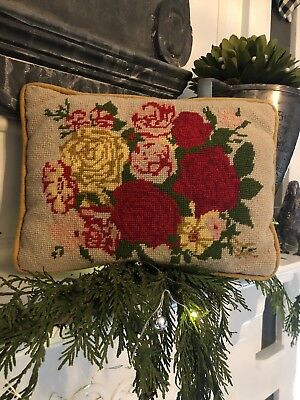 Antique Needlepoint Deco Christmas Roses Vibrant Colors Small Pillow