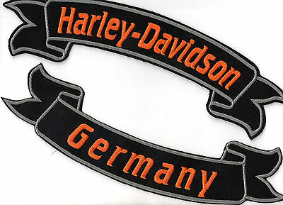 Harley Davidson Germany Banner Set Patch Aufnäher 2 Stück Kutte Biker MC Chopper