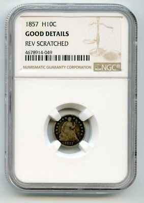 1857 Seated Liberty Silver Half Dime (Good Details) NGC.  Rev. scratched.