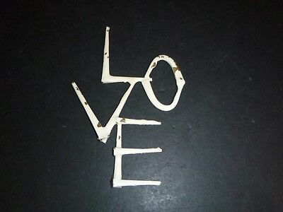 """Vtg Mid Century Brutalist Nail Art """"LOVE""""  Wall Hanging Chippy Paint"""