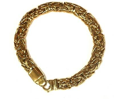 "14k yellow gold Byzantine hollow bracelet 16.2g estate chain link 7 1/2"" antique"