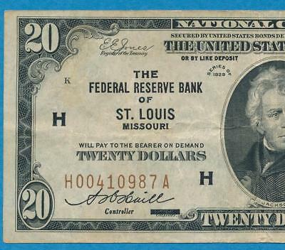 $20. 1929 St. Louis   Brown Seal Federal Reserve Bank Note Original Choice Vf