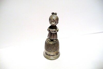 "Thimble Silver-Plated Pewter Precious Moments' ""christmas 1984"" W/girl Caroling"