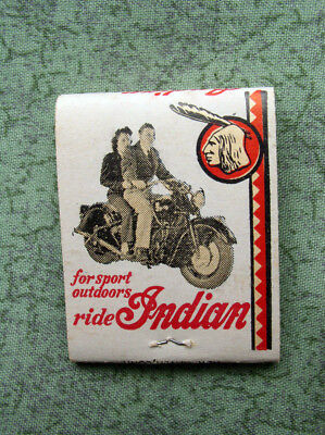 Indian Motorcycle Matchbook, late 1940s, antique, collectible, Mint, vintage