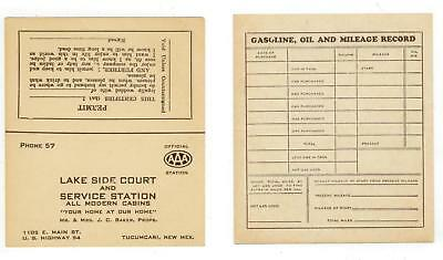c1940 Tucumcari New Mexico Lake Side Court and Gas Station business card
