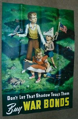 Original WWII Poster 1942 DON'T LET THAT SHADOW TOUCH THEM 28 X 40 War Bonds