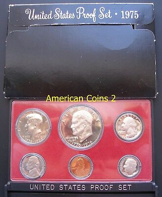 1975  U.S. Mint Coin Set 6 Coin Proof Set with Mint Mark S