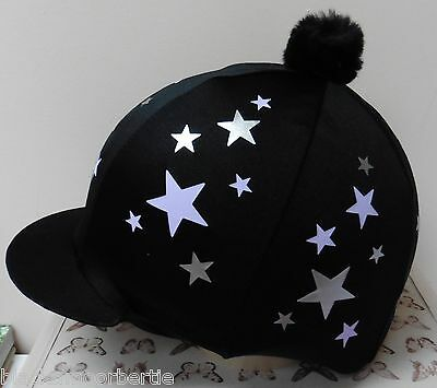 Riding Hat Silk skull cap cover BLACK / SILVER & LILAC STARS With or W/O Pompom