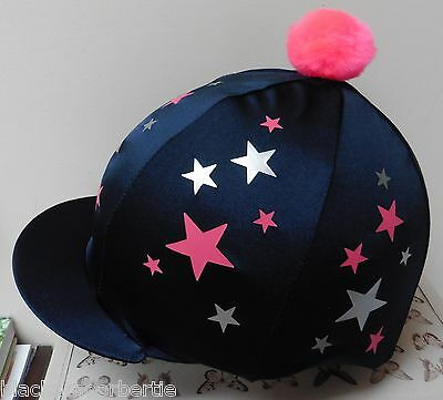 Riding Hat Silk skull cap cover NAVY BLUE SILVER & PINK STARS with OR w/o Pompom