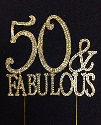 50 and Fabulous Crystal Cake Toppers Bling 50th Birthday Cake Topper Gold