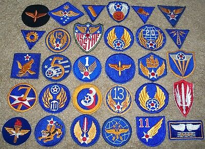 LARGE LOT OF ORIGINAL WW2 - 1950's U.S. AIR FORCE PATCHES (2 GLOW)