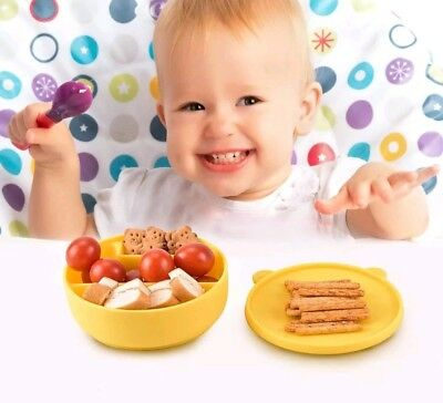 HOYATO Cute Silicone Baby Toddlers Food Feeding Meal Bowls/Mat with Lid Yellow 1