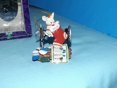 Mistletoe MOUSE VINTAGE SEWING MACHINE Stockings Sister Brother Mom Dad ORNAMENT