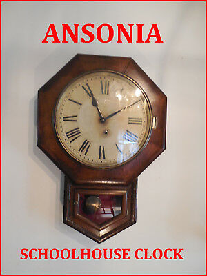 Antique Ansonia School House Clock-Time Only-Refurbished-Runs Great